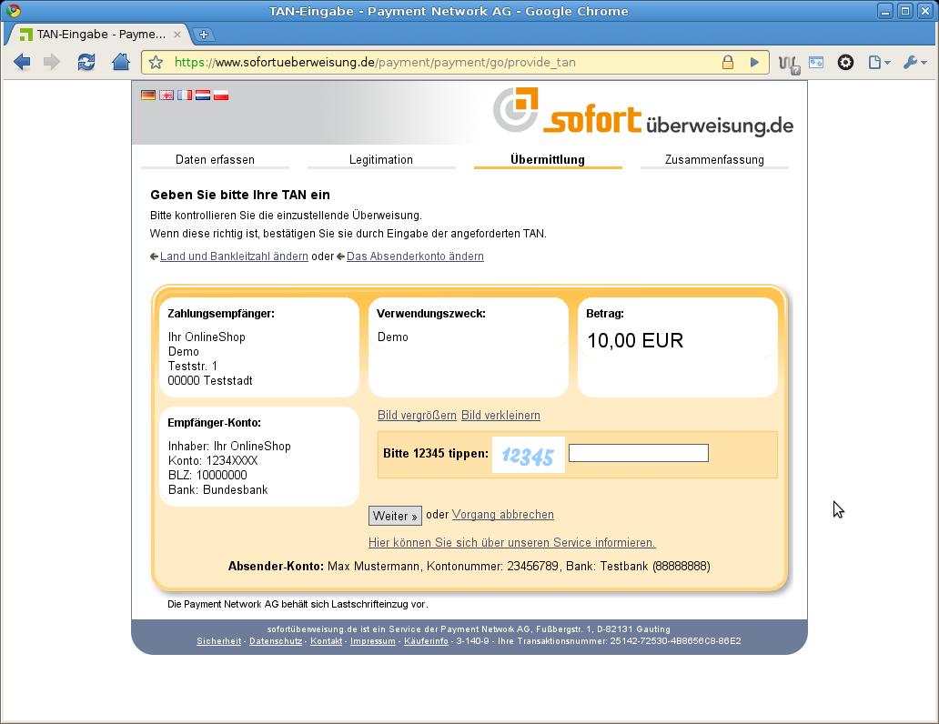 online banking sofortüberweisung
